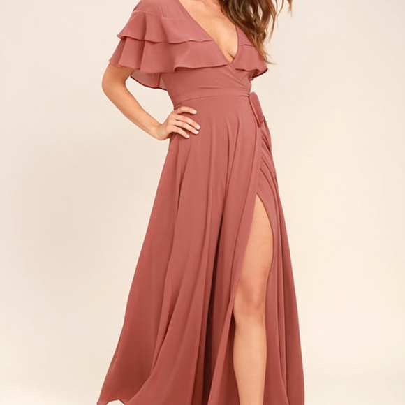 212294038d83f Lulus Dresses | Wonderful Day Rusty Rose Wrap Maxi Dress | Poshmark